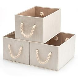 EZOWare Set of 3 Bamboo Large Fabric Storage Bins Organizer