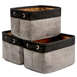 Set of 3 Collapsible Large Cube Fabric Linen Canvas Storage