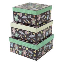 Tricoastal Design - Set Of 3 Decorative Storage Boxes Teddy