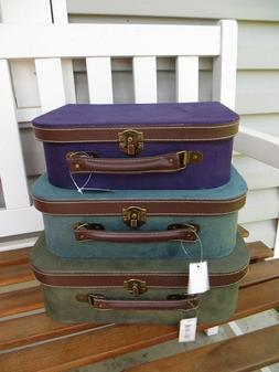 Set of 3 Imax Decorative Suitcase Storage Boxes Purple Green