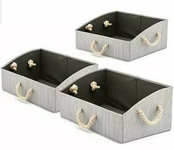 Set Of 3 Large Storage Bins Foldable Fabric Trapezoid Organi