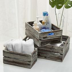 Set of 3 Rustic Finish Brown Wood Nesting Boxes / Tabletop S