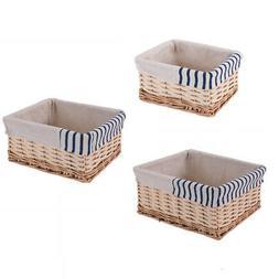Set Of 3 Storage Baskets Shelf Boxes Handmade Wicker Woven B
