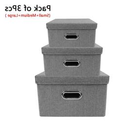 Set of 3 Storage Bins Collapsible Stackable Linen Fabric Cub