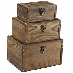 Set of 3 Vintage Style Wood Decorative Nesting Boxes, Jewelr