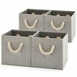Set of 4  Foldable Bamboo Fabric Storage Bin with Cotton Rop
