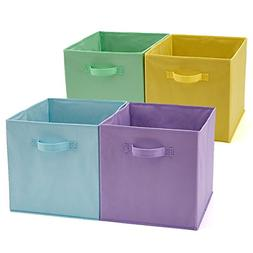 Set of 4 Foldable Fabric Basket Bin Collapsible Storage Cube