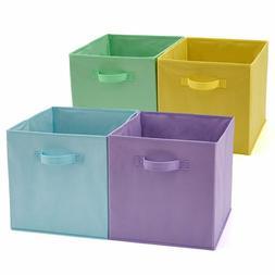 Ezoware Set Of 4 Foldable Fabric Basket Bin, Collapsible Sto