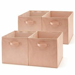 Set of 4 Foldable Fabric Bin, Collapsible Storage Cube Boxes