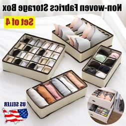 Set of 4 Folding Storage Box Drawer Underwear Ties Socks  Bo