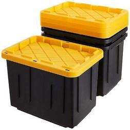 Set Of 4 Heavy Duty Plastic Storage Organizer 27 Gallon Cont