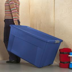 Set of 4 Tote Storage Box Wheeled Latch Large Container 45 G