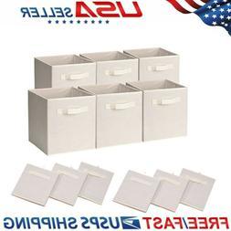 Set of 6 Basket Bins Collapsible Storage Organizer Boxes Cub