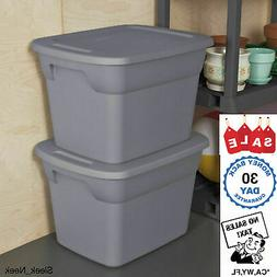 Set of 8 Plastic Storage Containers 18 Gallon Stackable Tote