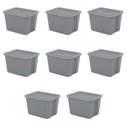 Set Of 8 Plastic Tote Box 18 Gallon Steel Stackable Storage