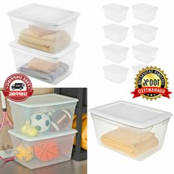 Set Of 8 PLASTIC TOTE BOX Storage Containers 58 Qt Clear Sta