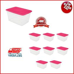 SET of 8 Storage Containers 58 Qt  Plastic Boxes Bin Laundry