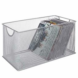 MyGift Silver Mesh Metal CD Holder Box Organizer, Open Stora