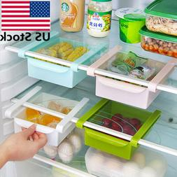 Slide Fridge Freezer Storage Box Rack Shelf Kitchen Organize