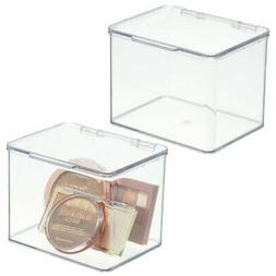mDesign SM Makeup Storage Organizer Box, Lid for Bathroom Va