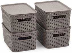 EZOWare Small Plastic Containers with Lid, Lidded Stackable