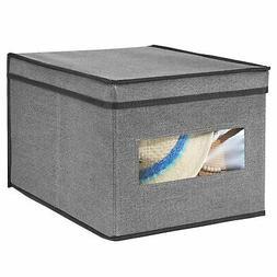 mDesign Fabric Closet Storage Organizer Bin Box, Large