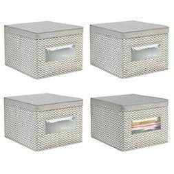 mDesign Soft Fabric Closet Storage Organizer Box, Large - Ta