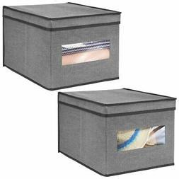 mDesign Soft Fabric Closet Storage Organizer Box, Large, 2 P