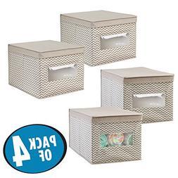 mDesign Decorative Stackable Fabric Closet Storage Organizer