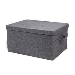 Bigso Soft Storage Box with Lid, Large, Grey