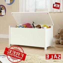 Soft White Kids Wooden Toy Chest Bedroom Storage Organizer B