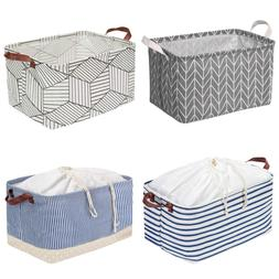 Square Fabric Storage Bin Foldable Shelves Basket with Handl