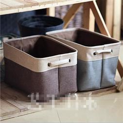 Square Linen Storage Box Kids Toys Clothes Organizer Cube Bi