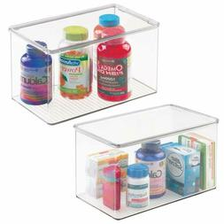 Mdesign Stackable Bathroom Storage Bin Box With Lid - Contai