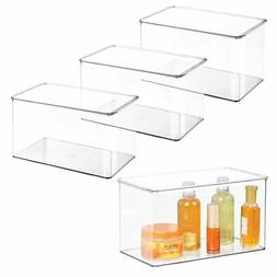 "mDesign Stackable Bathroom Storage Bin Box with Lid, 7"" High"