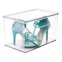 Stackable Clear High Heels Plastic Shoe Box with Lids Storag