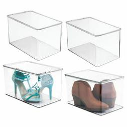 """mDesign Stackable Closet Storage Bin Box with Lid, 7"""" High"""