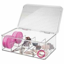 mDesign Stackable Divided Hair and Makeup Storage Organizer