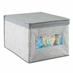 mDesign Stackable Fabric Closet Storage Organizer Box, Lid