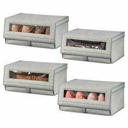 mDesign Stackable Fabric Closet Storage Shoe Box - Large