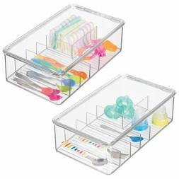 mDesign Stackable Plastic Child Storage Organizer Container