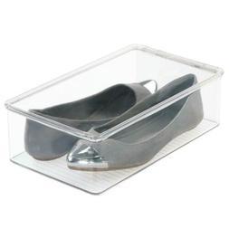 mDesign Stackable Plastic Closet Shelf Shoe Storage Organize