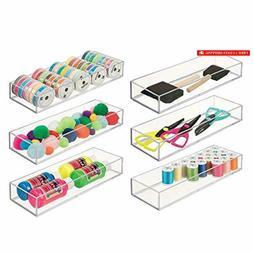 mDesign Stackable Plastic Drawer Organizer Storage Bin Tray