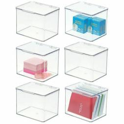 mDesign Stackable Plastic Office Storage Organizer Box with