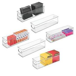 mDesign Stackable Plastic Storage Bin Container, Desk and Dr