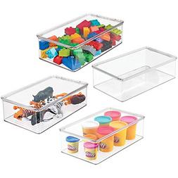 mDesign Stackable Plastic Storage Toy Box Bin with Lid - Con