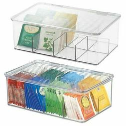 mDesign Stackable Plastic Tea Bag Organizer Kitchen Storage