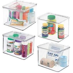 mDesign Stackable Plastic Storage Bin Box with Hinged Lid Or