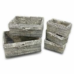 Stone Gray Wicker Decorative Organizing Baskets 3 Small 1 Me