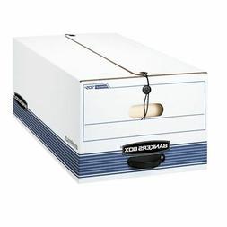 Stor/File Storage Box, Legal, Locking Lid, White/Blue, 12/Ca
